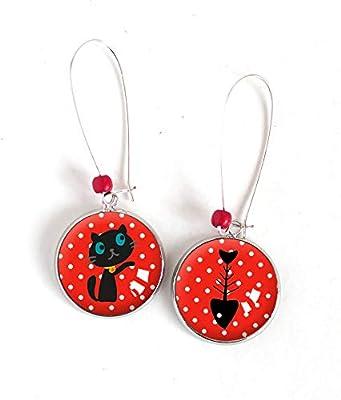Boucles d'oreilles Cabochon asymétrique, Petit chat et son poisson, rouge et blanc, argenté