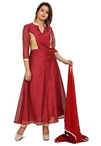 Utsav Fashion Plain Chanderi Silk Anarkali Style Suit in Maroon