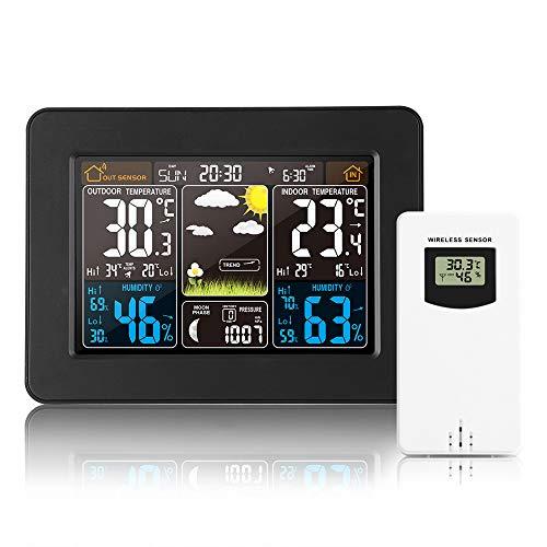 Estación meteorológica inalámbrica Reloj digital colorido del pronóstico del tiempo con sensor exterior...
