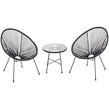 Ensemble Salon de Jardin Design néo-rétro Acapulco 2 fauteuils et Table  Basse Cordage PVC Verre trempé Noir