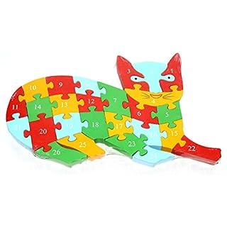 AeMBe - Holz Puzzle - Katze - Legespiel Lernspiel / Holz spielzeug / Gedächtnisspiel für Kinder - Legespiel Anlegen - Motoric Übungen