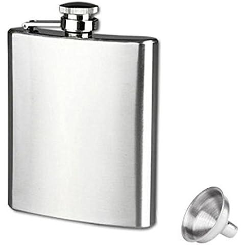 Longra Acero inoxidable de bolsillo, frasco de la cadera del alcohol del licor del whisky Tapón de tuerca + Embudo (9
