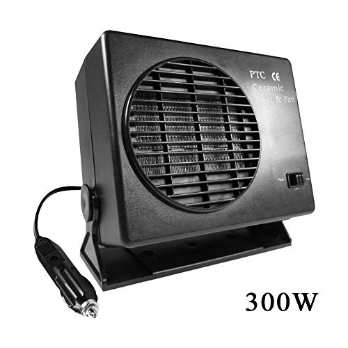 SinceY Radiateur Ventilateur Soufflant Céramique Oscillant, Economie Energie, Radiateur d'appoint 150W/300W, Ventilateur radiateur portatif dégivreur de fenêtre 12V