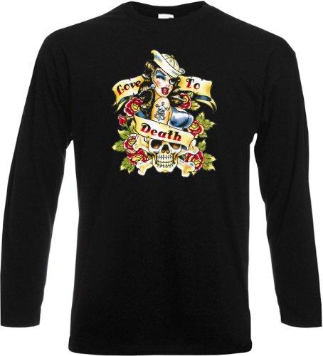 Langarm T-Shirt Love to death tatoo Schwarz