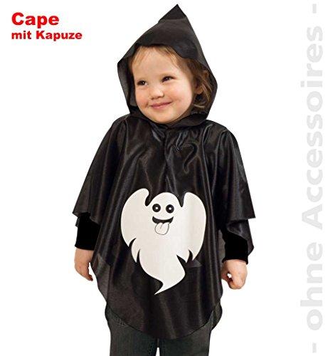 Little Ghost schwarzes Cape mit Kapuze und Geist-Aufdruck Kleiner Geist Kinderkostüm Halloween Karneval Fasching *NEU bei Pibivibi© (98) (Geist Halloween Kostüme Für Kleinkinder)