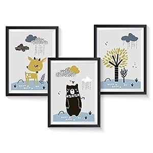 Kunstdruck Kinderzimmer Poster für Jungen | optional mit Bilderrahmen | Kinderbilder Kinderzimmer Set
