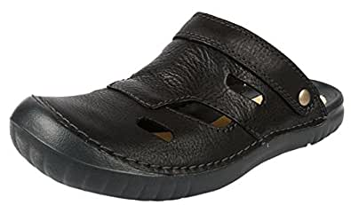 Clarks Men's Wirrel Beat Black Leather Sandals and Floaters - 8 UK