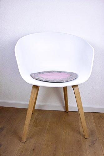 8-Natur Rundes Stuhlkissen in Grau Rosa aus 100% Reinem Merinofilz als Bankkissen, Bodenkissen Oder Dekokissen ca. 36 cm Durchmesser für Designerstühle, Bänke und Auch Gartenbänke...