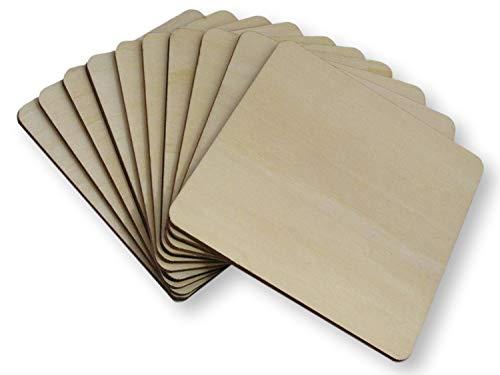 Okra Untersetzer aus Holz, quadratisch, 10 cm, 50 Stück