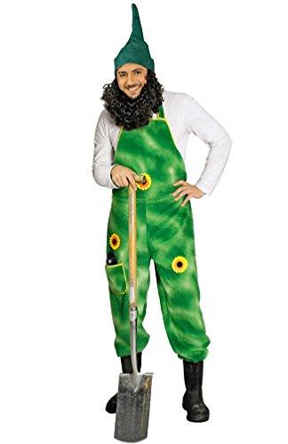 Karneval-Klamotten Gärtner-Kostüm Herren Plüsch-Latzhose grün mit Sonnenblumen Garten-Zwerg Größe ()