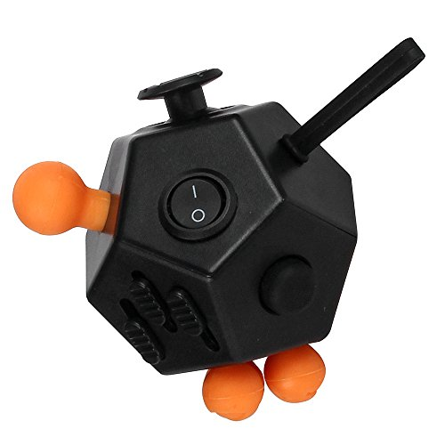JouerNow Fidget Cube II Anxiety Stress Relief Focus 12 side Dice Kid Toy Gifts Black -