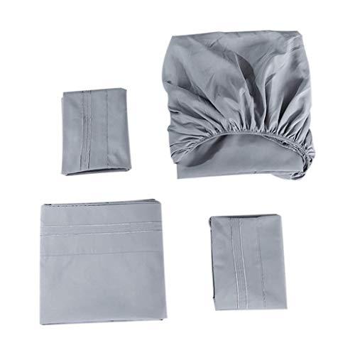 eliaSan Dovet Cover Set 1PC Sheets 1PC Matratze 1Pcs Kissenbezug Solid Color Bestickte Bettwäsche Set - 180X200X40cm -
