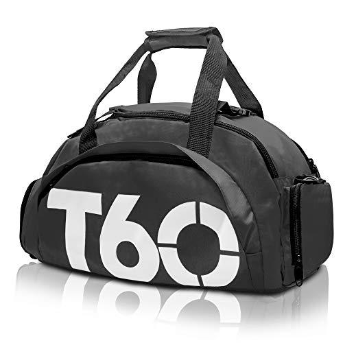 arteesol Sporttasche, Reisetasche Duffle Bag 20L Multifunktionale Schulter Rucksack Wasserfeste Seesack Trainingstasche Weiblich Männlich Große Kapazität Leichte Gepäcktasche (Weiß-Schwarz) (Duffle Große Sport Bag)