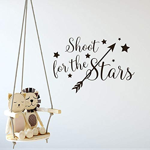WWYJN Sticker Arrow with Stars Wall Decals Children Room Decoration Stars Quote Wall Poster Bedroom Wallpaper Gray 57x40cm