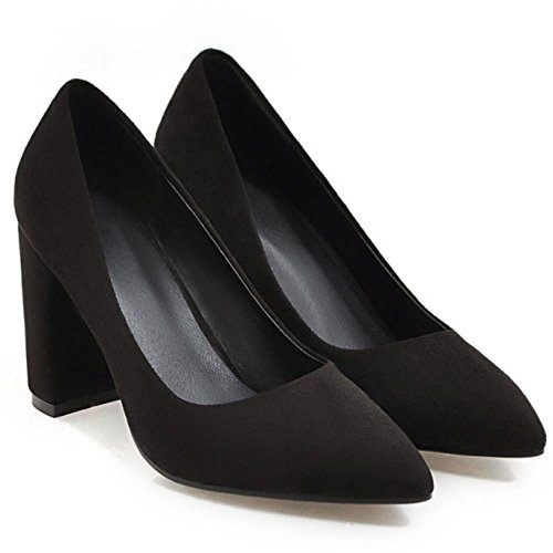 COOLCEPT Damen Fashion Slip-on Geschlossene Hochzeit Pumps Blockabsatz Pointed Toe SU Schwarz