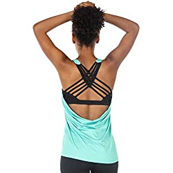 icyzone Camiseta de Fitness Deportiva de Tirantes para Mujer Cruzado-Cruzado 2 en 1 Chaleco Deportivo (S, Florida Keys)