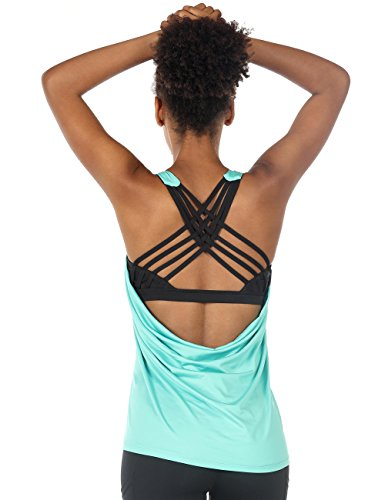 icyzone Damen Sport Tops mit Integriertem BH - 2 in 1 Yoga Gym Shirt Fitness Training Tanktop (M, Florida Keys)