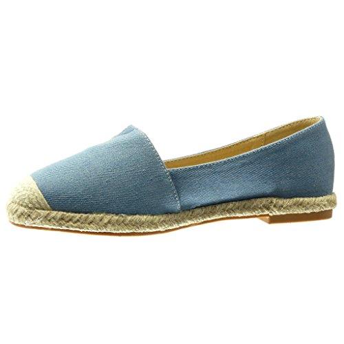 Angkorly Damen Schuhe Espadrilles Mokassin - Slip-on - Seil - Bestickt Flache Ferse 0 cm Blau