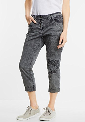CECIL Damen Hose mit Kniepatch New York graphit light grey (grau)