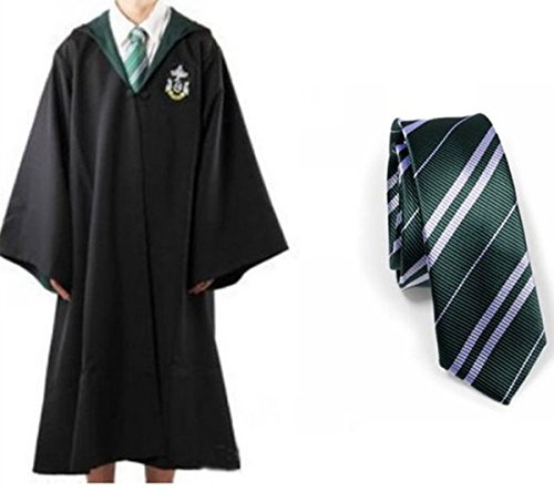 Harry Potter Slytherin School Fancy Robe Cloak Costume And Tie (Size ()
