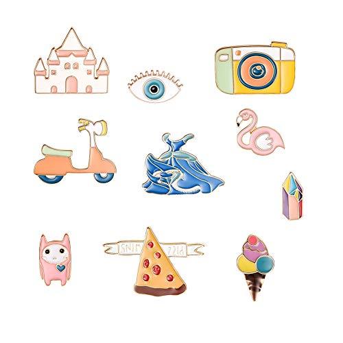 BIGBOBA 10x Brosche Set Pins Cartoon Brosche Anstecknadel Anstecker Pins Metall Brosche für Kleidung und Rucksäcke Decor