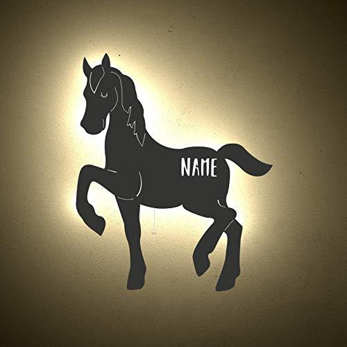 Nachtlicht Kinderzimmer-Lampe Paula das Pferd /Tauf-Geschenk oder zur Geburt/Personalisiert mit Wunsch-Name für Mädchen oder Jungen Schlummerleuchte Babyzimmer Stilleuchte [Energieklasse A++]