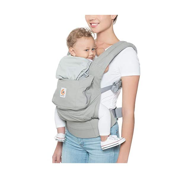 "Ergobaby Front and Back Original Baby Carrier, Pearl Grey Ergobaby Ergonomic baby carrier - ergonomic for baby with wide deep seat for a spread-squat, natural ""m"" seated position. Baby carrying system with 3 carry positions:  front-inward, hip and back. from baby to toddler: 5.5*-20 kg Maximum wearing comfort - lumbar support waist belt (adjustable from 66-140 cm / 26-52 in) that can be adjusted to the height of the carry position. 1"