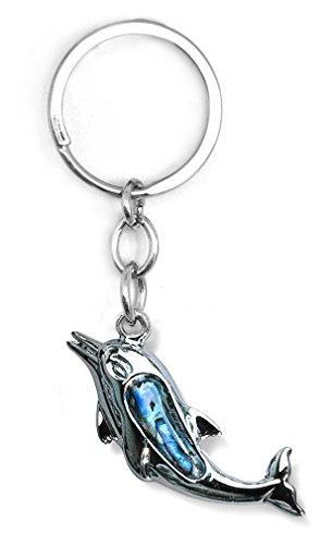Schlüsselanhänger Delfin 5 cm silber, Paua Muschel Abalone Perlmutt blau grün rosa, Glücksbringer Talisman Schlüsselring