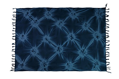 Ca 35 Luxus Batik Pareo Sarong Lunghi Dhoti Handtuch Strandtuch Schal Beach Tücher Ca 170cm x 110cm Original von EL GMBH Blau Blickdichtes Muster