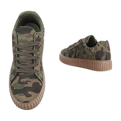 039241ecc2dbe1 ... Low-Top Sneaker Damenschuhe Low-Top Sneakers Schnürsenkel Ital-Design  Freizeitschuhe Khaki