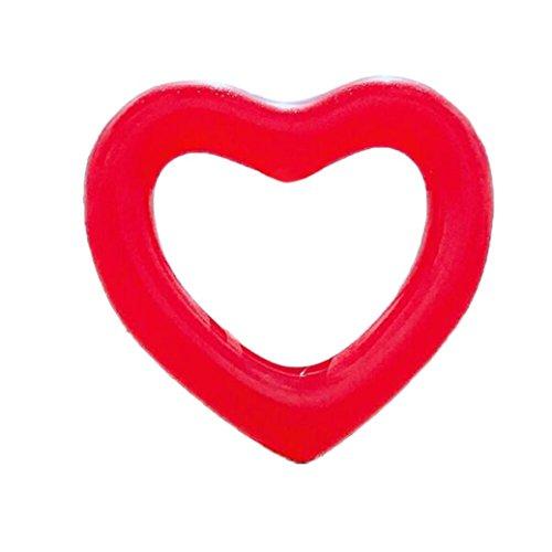Clearance!ciambella nuoto anello di nuoto gonfiabile a forma di cuore aerato salvagente andando alla deriva letto galleggiante gonfiabile piscina mare (rosso)