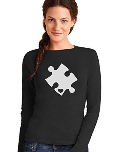 Green Turtle T-Shirts Camiseta de Manga Larga para Mujer - Autism Awareness Heart Cut Puzzle - Concienciación Sobre el Autismo Medium Negro
