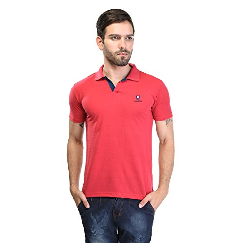 Duke Stardust Casual T-Shirt for Men Polo Collar Cotton Blend Material Half Sleeves Dark Pink color Smart Fit  available at amazon for Rs.335