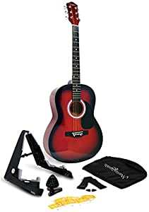 Martin Smith W-101-RD-PK Acoustic Guitar Super Kit with Stand (Red)