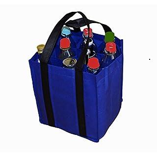 all-around24 Flaschentasche Bottlebag Tasche Einkauf Tragetasche Flaschenkorb Flaschenträger (27x23x21cm, Blau)