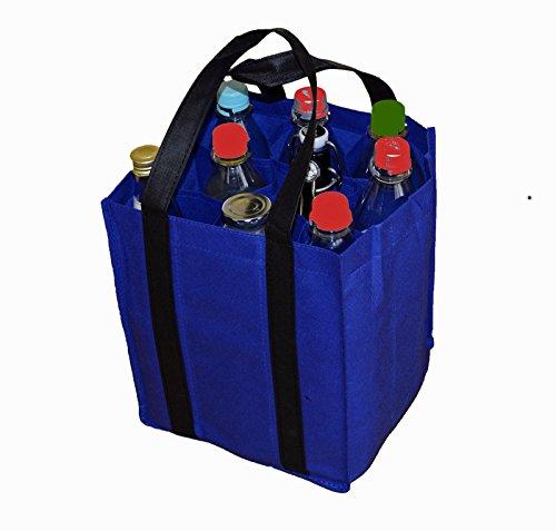 Flaschentasche Bottlebag Tasche Einkauf Tragetasche Flaschenkorb Flaschenträger (27x23x21cm, Blau)
