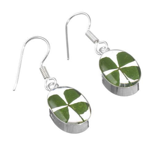 Orecchini pendenti in argento Sterling con vero four-leaf clovers in confezione regalo - Four Leaf Clover Regalo