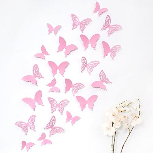 Wandkings 3D Deko Schmetterlinge - Wähle eine Farbe - Rosa mit Ornamenten - 12 Stück - mit Klebepunkten zur Fixierung