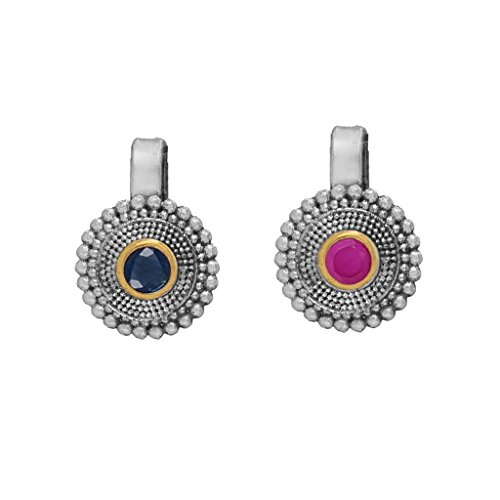 Fashion Honor 0.50 Grams Oxidised Silver & Gold Pink & Blue Combo...