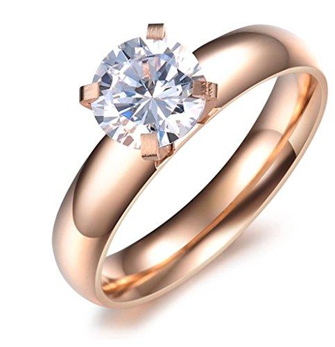 AnaZoz Anello Donna Matrimonio Placcato Oro Amore Eterno Regalo di Anniversario con CZ Cristallo Zircon Cubique Solaire Misura Anello 15