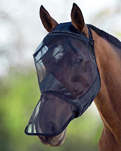 Harrison Howard CareMaster Fliegenmaske UV-Schutz ohne Ohren mit Nasenschutz Schwarz Vollblut (M)