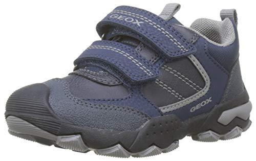 Geox Boys J BULLER Boy D Sneaker, Navy/Grey, 39 EU