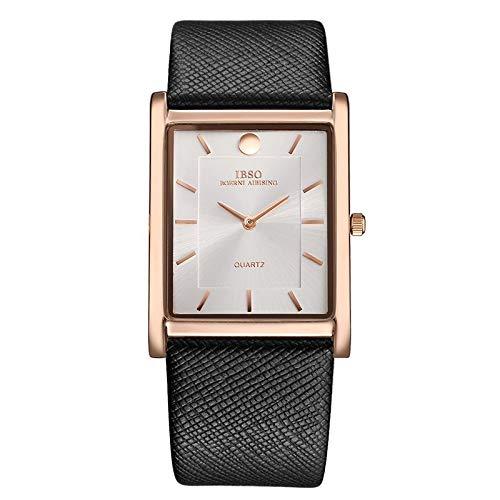 WLFPEG Ultradünne Rechteck Zifferblatt Quarz Armbanduhr Schwarz Lederarmband Uhr Männer Classic Business New Men Uhren