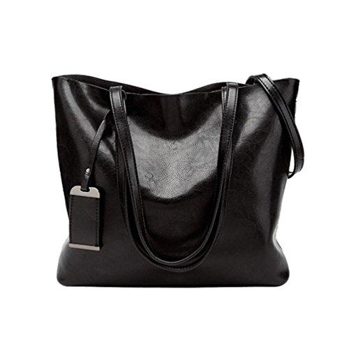 Damen Retro Casual Fashion Leder Handtasche Schultertasche Messenger Bag Umhängetasche Shopper Langlebig Staubbeutel für Travel Tägliche Arbeit schwarz 32cm(L)*13cm(W)*28cm(H) (- Leder-nylon-schulter-bag)
