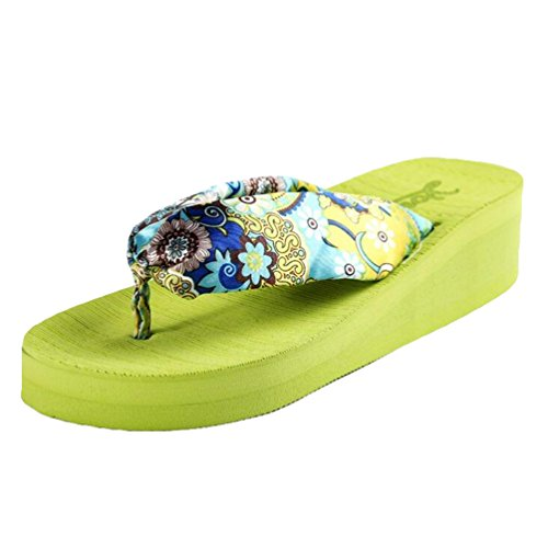 Yiiquan Donna Sandali Bohemia Zeppa Infradito Scarpe da spiaggia Pantofole Verde #1