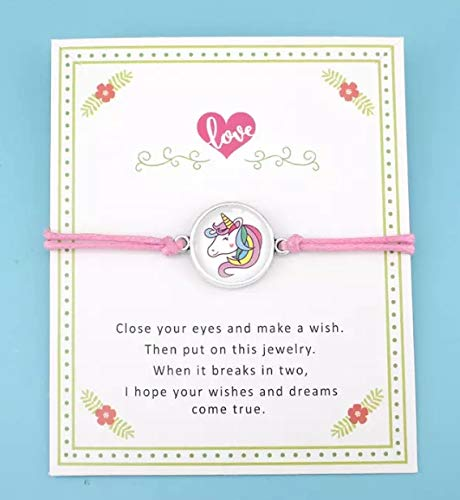 Make a wish Einhorn Cabochon Armband 18mm Farbe rosa Anhänger rund silber Unicorn Kinder Mädchen Schmuck handmade