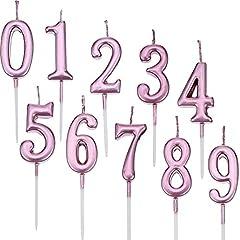 Idea Regalo - Yaomiao 10 Pezzi Compleanno Numerale Candele Torta Numerale Candele Numero 0 - 9 Glitter Torta Topper Decorazione per Bomboniera Festa di Compleanno (Rosa)