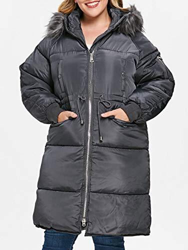 Gaodaweian Plus Size Faux Pelzkragen Puffer Mantel Langarm Mantel Plus Size Lace Insert Plaid Zip Fly Mantel Vorne Offen Lange Blazer Frauen Plaid Belted Coat