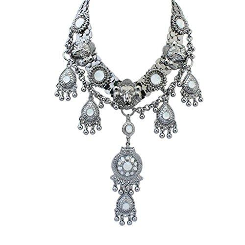 Epinki Damen Vergoldet Halskette, Damenkette Statementkette Choker YHawaiikette Halsband Metall Dag Tag Schwarz (Nobbies Kostüme)