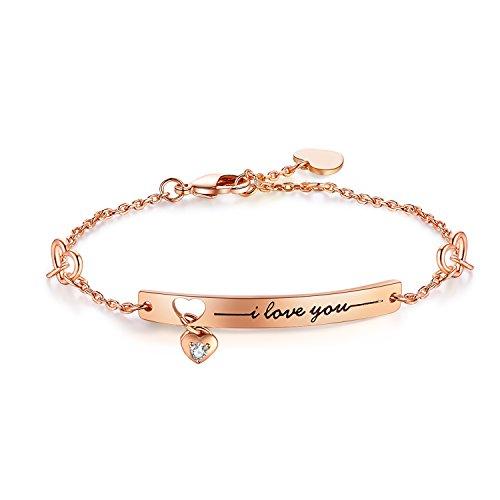 "NinaMaid Armband Damen Geschenk ""I love you"" Gravur Vergoldet Armbänder für Damen Zirkonia Armband 8 Inches (Roségold)"